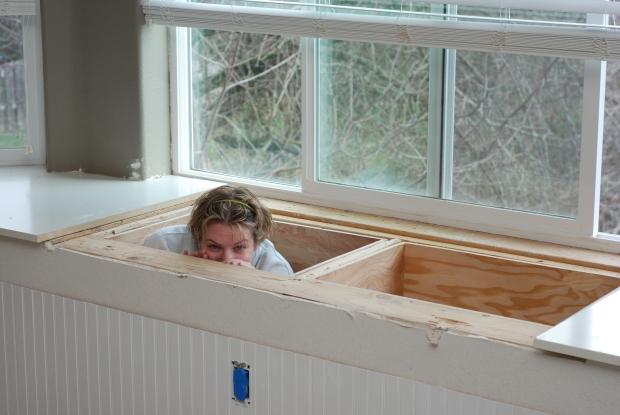 how to build a bay window storage bench