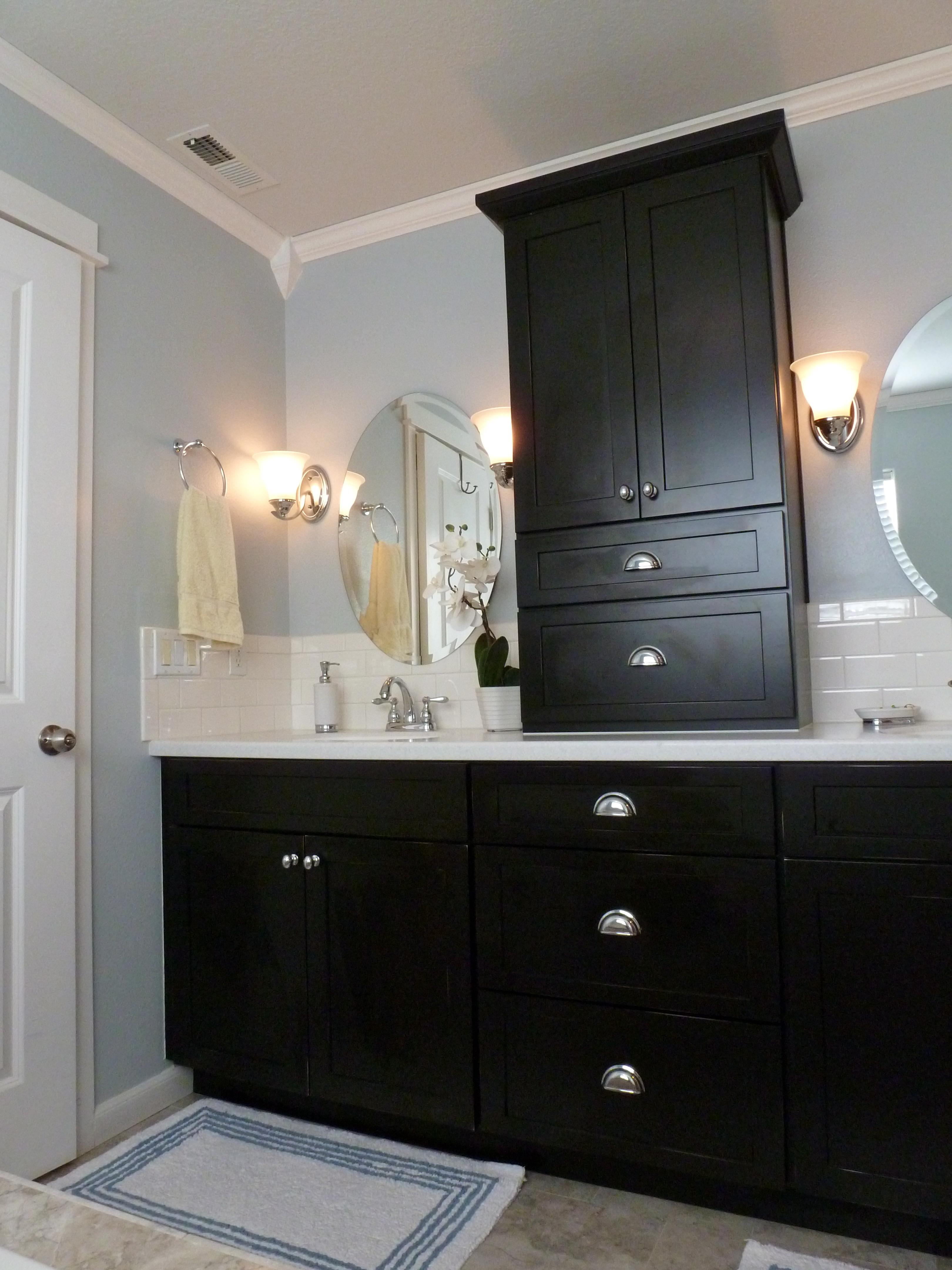 Bathroom Renovations Logan black and blue (and beautiful!) bathroom remodel
